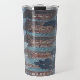 1938 Tsuchiya Koitsu Japanese Woodblock Print Rain at Horyuji Temple Nara Travel Mug