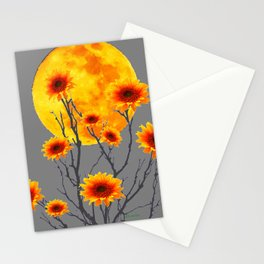 Red Gold Color Fantasy Sunflowers  Flowers Moon  Art Stationery Cards