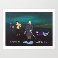 general Art Prints featuring General Sadness by Angela Dalinger