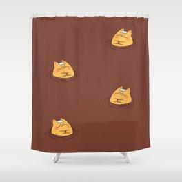 Coffee Tea Onsen Cat Shower Curtain