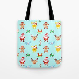 Cute Santa Claus, reindeer, bunny and cookie man Christmas pattern Tote Bag