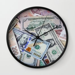 A collection of various foreign currencies Wall Clock