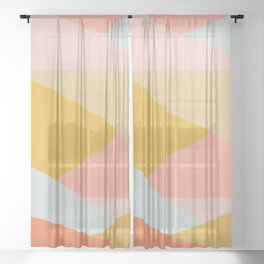 Large Triangle Pattern in Soft Earth Tones Sheer Curtain