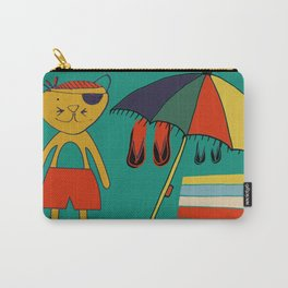Cat pirate at the beach green Carry-All Pouch