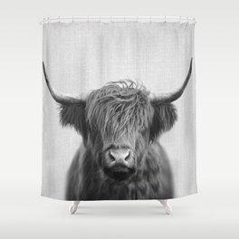 Highland Cow - Black & White Shower Curtain
