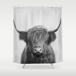 Highland Cow - Black & White Shower Curtain