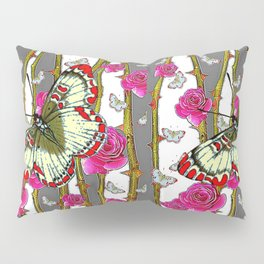 RED-YELLOW  ORIENTAL STYLE BUTTERFLIES & PINK ROSES GREY PATTERN DESIGN FROM SOCIETY6   BY SHARLESAR Pillow Sham