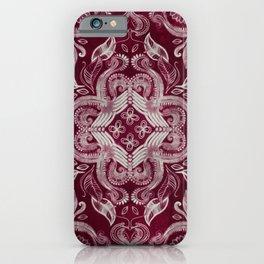 Dark cherry red dirty denim textured boho pattern iPhone Case