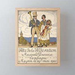 Werbeplakat fete de la federation musicale genevoise campagne meyrin geneva Framed Mini Art Print