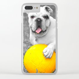 English bulldog white and the yellow ball Clear iPhone Case
