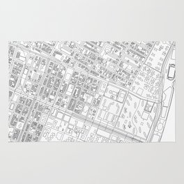 Abstract Map of New York City Manhattan Lower East Side Rug