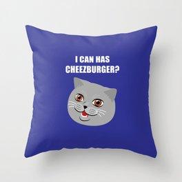 Funny Cat Meme I Can Has Cheezburger? Throw Pillow