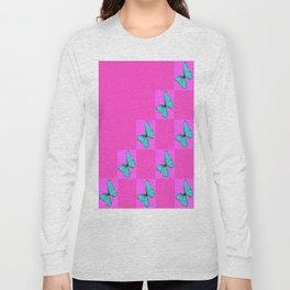Mauve & Blue Butterflies Geometric Pattern Abstract Long Sleeve T-shirt
