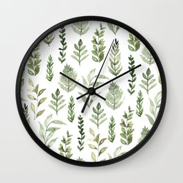 Watercolor leaves Wall Clock