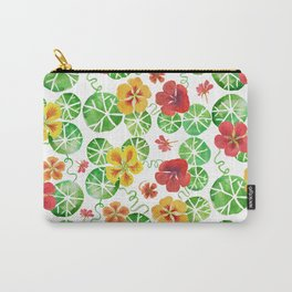 Watercolor Floral Simple Garden Nasturtium Flowers Carry-All Pouch