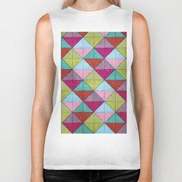 Colorful Seamless Rectangular Geometric Pattern V Biker Tank