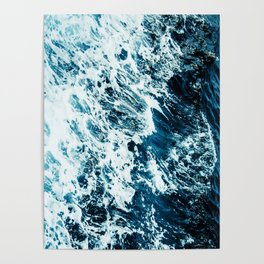 Water, Sea, Ocean, Wave, Blue, Nature, Modern art, Art, Minimal, Wall art Poster
