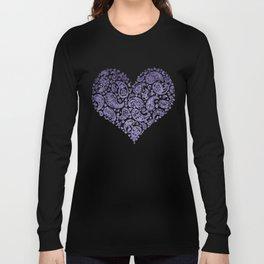 Purple Brocade Paisley Heart Long Sleeve T-shirt