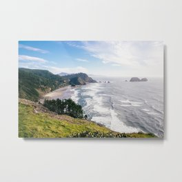Sunny day at Ecola State Park on the Oregon Coast - Landscape Photograph Metal Print