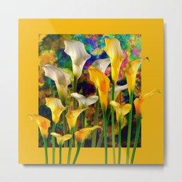 Golden Ivory Color Calla Lilies Golden Art Metal Print