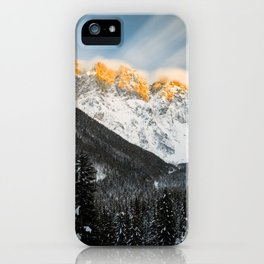 Last light of sunset on Slovenian Alps iPhone Case