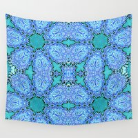 crystals Wall Tapestries featuring Turquoise Crystals by 2sweet4words Designs