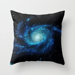 Spiral gAlaxy. Teal Ocean Blue Throw Pillow