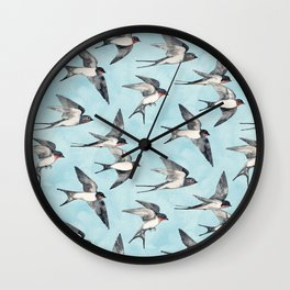 Blue Sky Swallow Flight Wall Clock