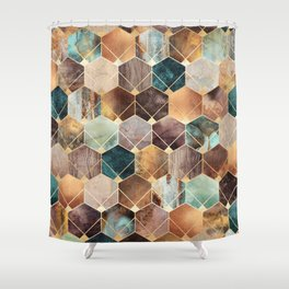 Natural Hexagons And Diamonds Shower Curtain