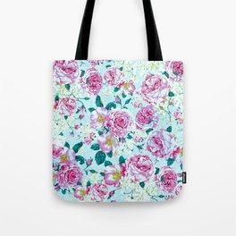 Vintage modern pink green teal watercolor floral Tote Bag