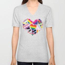 LGBTQA+ Community Pride Heart Unisex V-Neck