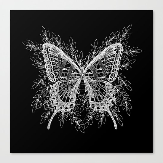 Black and White Butterfly Design Canvas Print