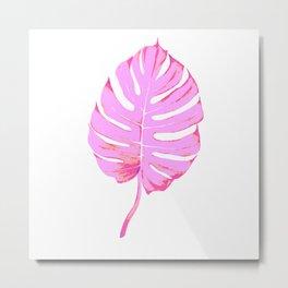 Pink Monstera Leaf Metal Print