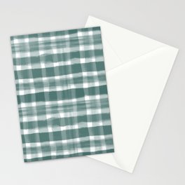 Watercolor Brushstroke Plaid Pattern Pantone Forest Biome 19-5230 Stationery Cards