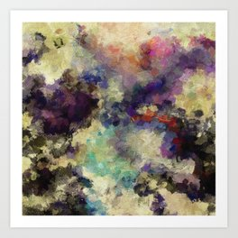 Contemporary Abstract Painting in Purple / Violet Color Art Print