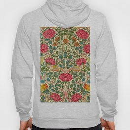 William Morris Roses Floral Textile Pattern Hoody