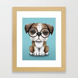 Cute English Bulldog Puppy Wearing Glasses on Blue Framed Art Print