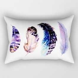 Watercolor Feathers Rectangular Pillow