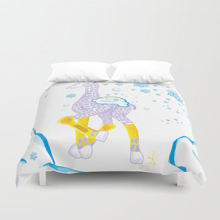 Winter is Coming - Midas is Ready - Christmas Lavender Giraffe Duvet Cover