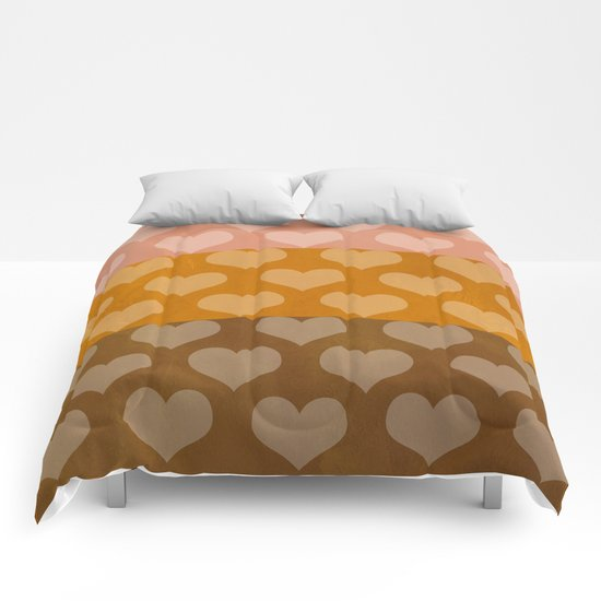 Patina Hearts Rose Gold Comforters