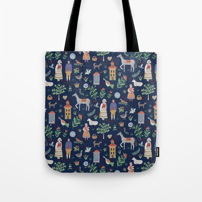 Swedish Folk Art Blue Tote Bag By Dasbrooklyn