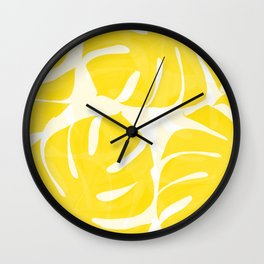 Mellow Yellow Monstera Leaves White Background #decor #society6 #buyart Wall Clock