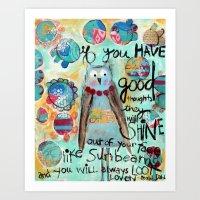 roald dahl Art Prints featuring Whimsical owl print, Roald Dahl quote by sunshine girl designs