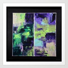 Violet & Green On A Rainy Day Art Print