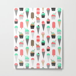 Ice Cream - Summer fresh modern minimal print pattern design gifts for college  Metal Print