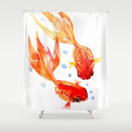 Goldfish Nursery Illustration Feng Shui Two Fish Art Shower Curtain