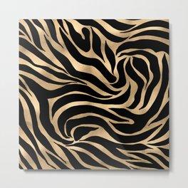 Elegant Metallic Gold Zebra Black Animal Print Metal Print
