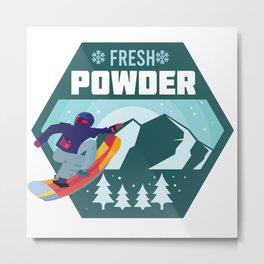 Fresh Powder - Snowboarding on Blue Bird Day Metal Print