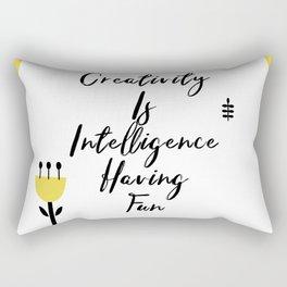Black and Yellow Cute Saying - Creativity is Intelligence Having Fun Rectangular Pillow