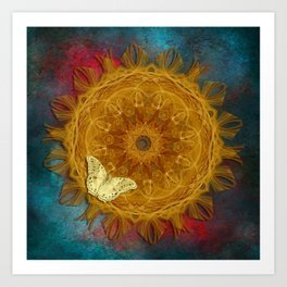 Magical fire mandala and gold butterfly Art Print